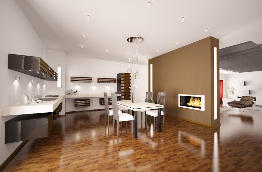 moderne k chen wohnen und kochen in einem raum mein bau. Black Bedroom Furniture Sets. Home Design Ideas