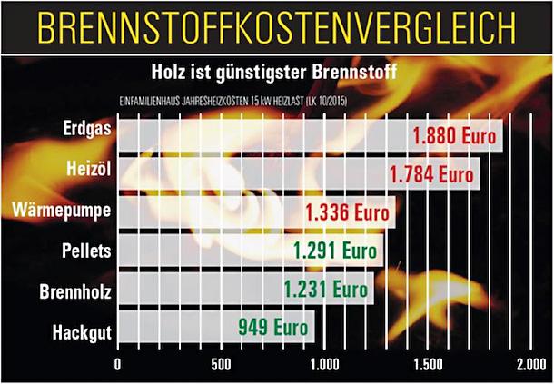 Brennstoffkostenvergleich für verschiedene Heizungstypen