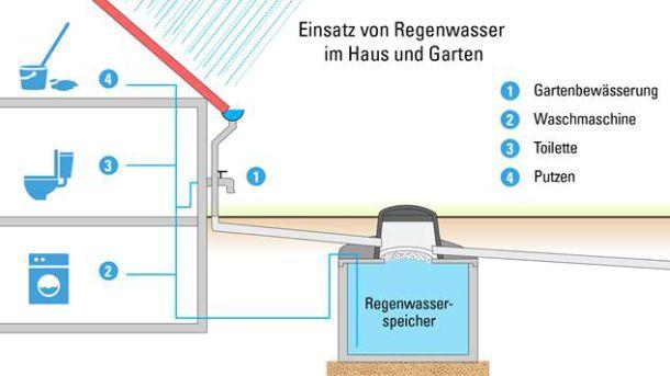 Hausbesitzer können Regenwasser auf verschiedene Arten nutzen. (Grafik: benz24.at)