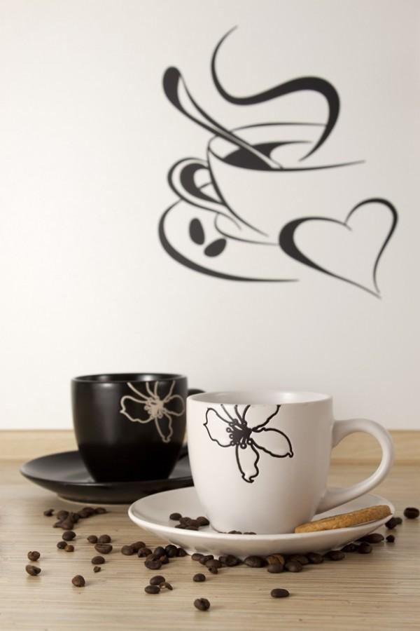 wandtattoo kueche umgestalten kaffeetassen