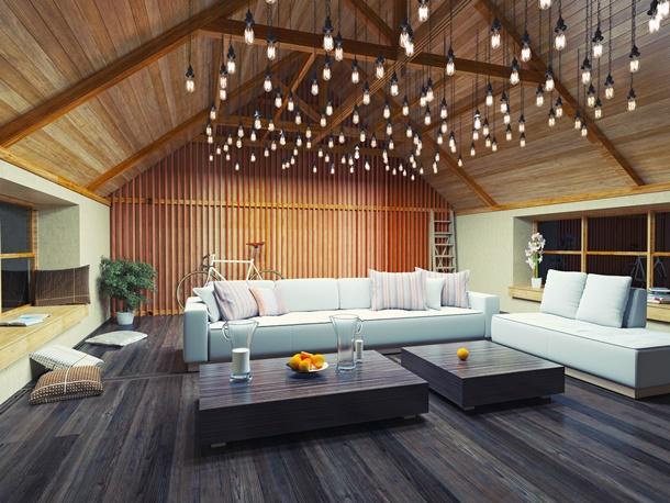 Wohnzimmer Rustikale Deckenleuchte Leuchtenhimmel