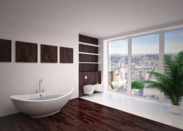 Das moderne Badezimmer ist einfach und trotzdem stilvoll. (Bildquelle: podsolnukh, clipdealer.de)