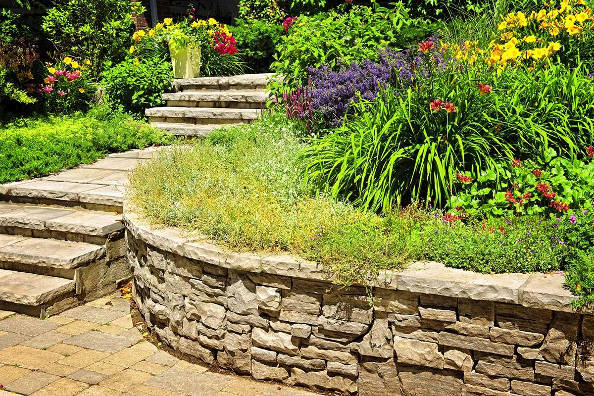 Es ist denkbar, einen Garten am Hang in Vorteil zu verwandeln.