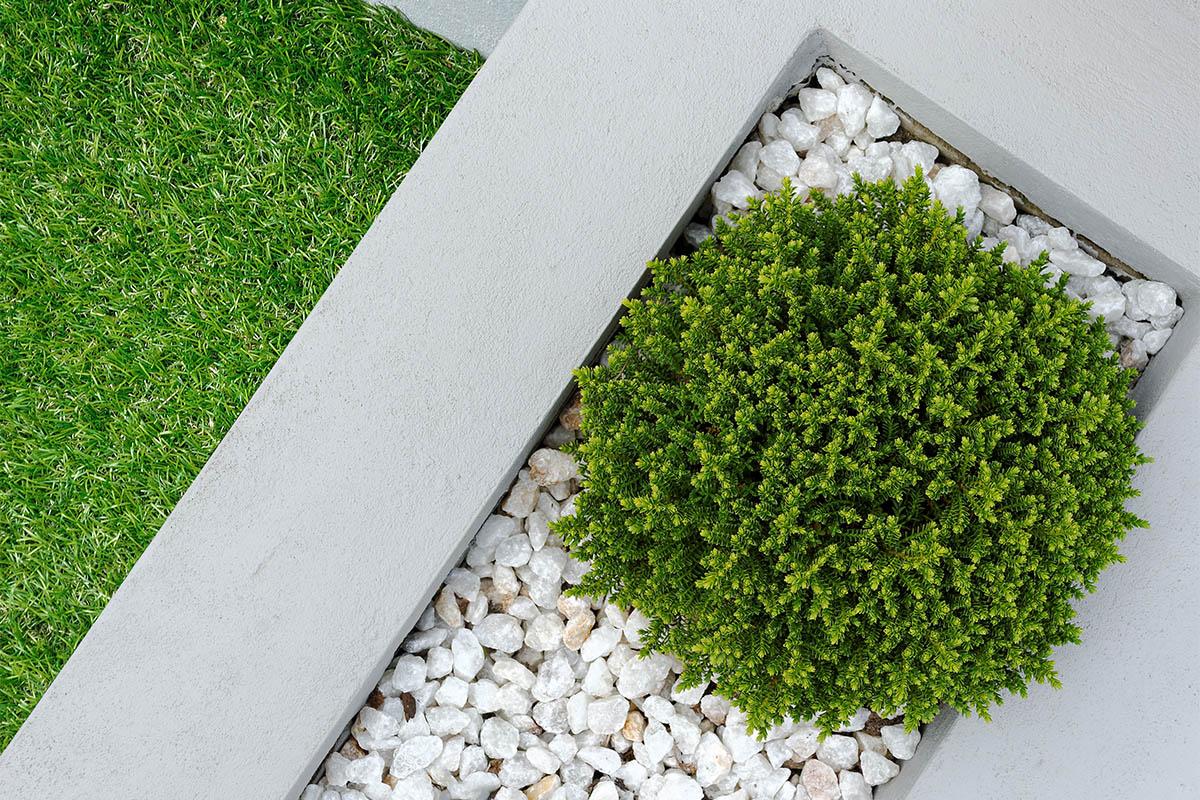 Reine Betonflächen sind bepflanzt oder durch Pflanzungen unterbrochen.