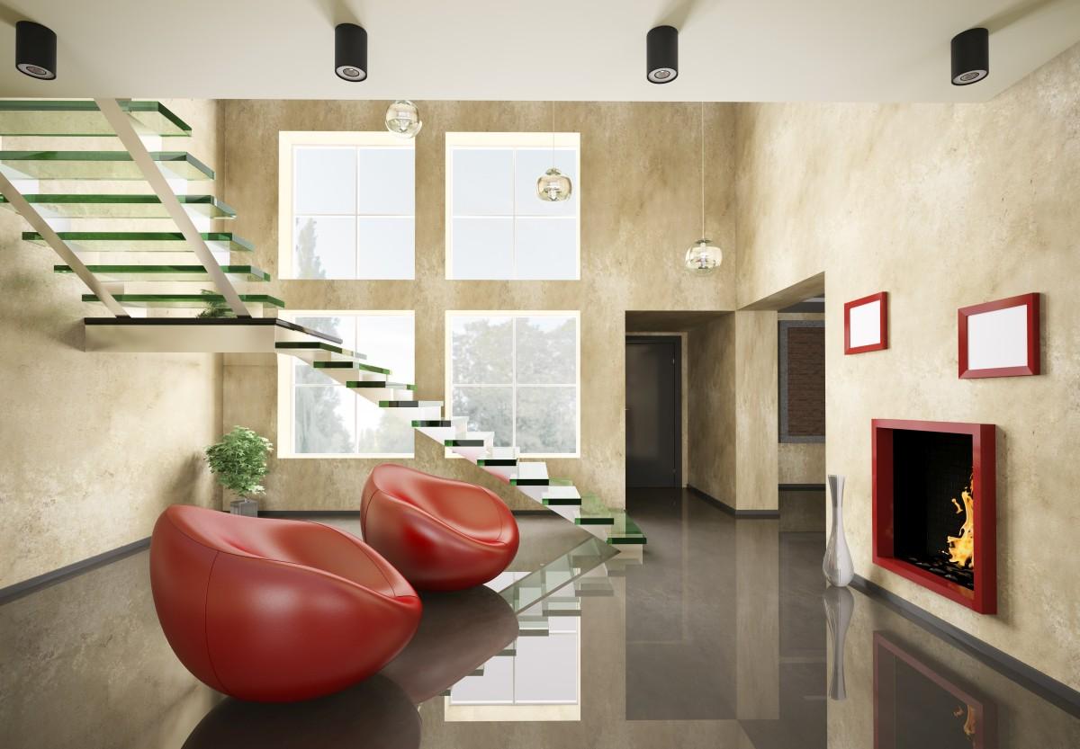 Treppe aus Glasstufen