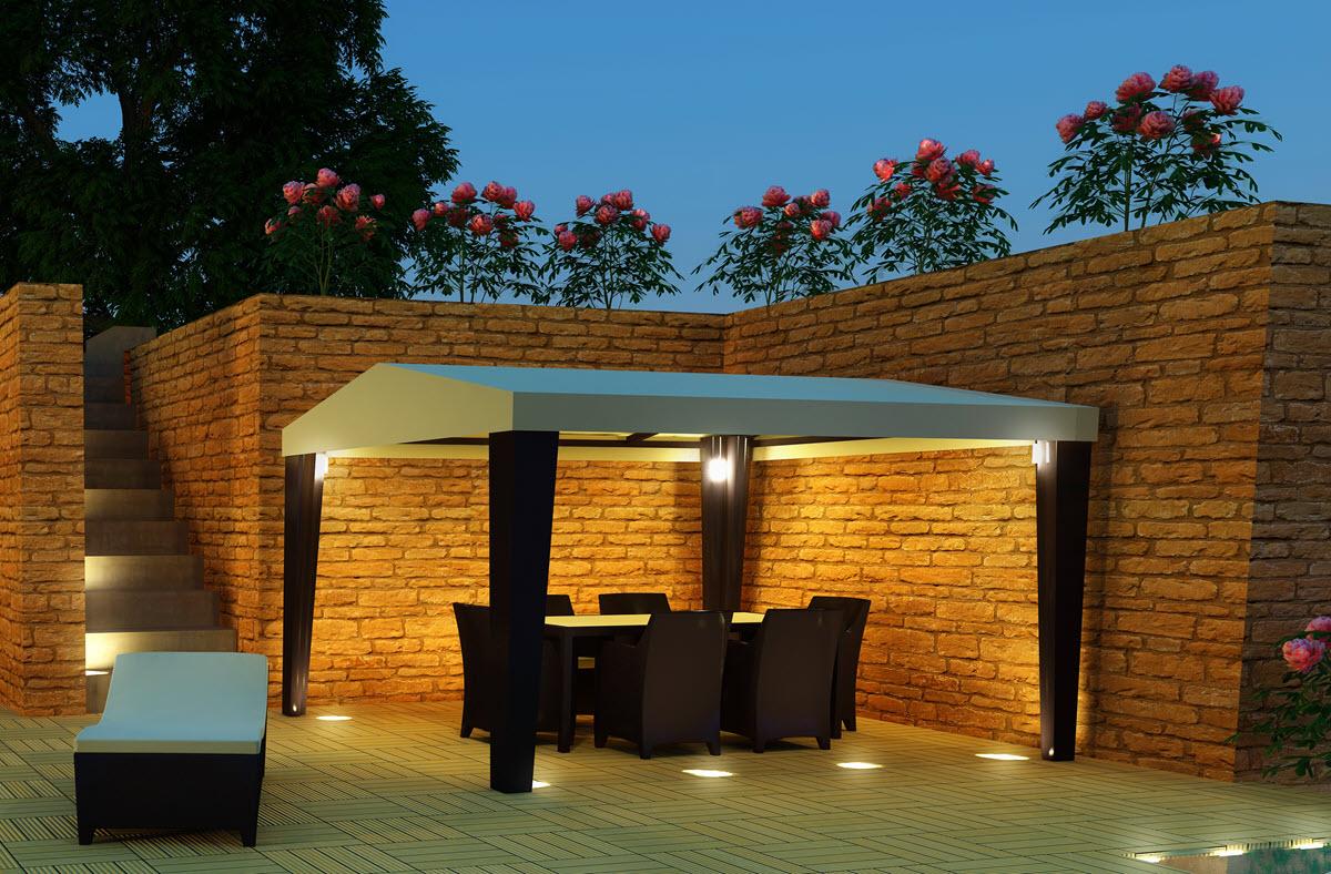 Gartenpavillon mit Beleuchtung